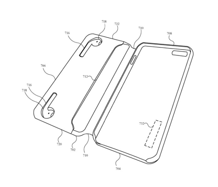 Detail from the patent showing an alternative position for charging AirPods in an iPhone case
