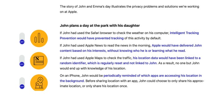Extract from the report showing some of the ways Apple's privacy features help users