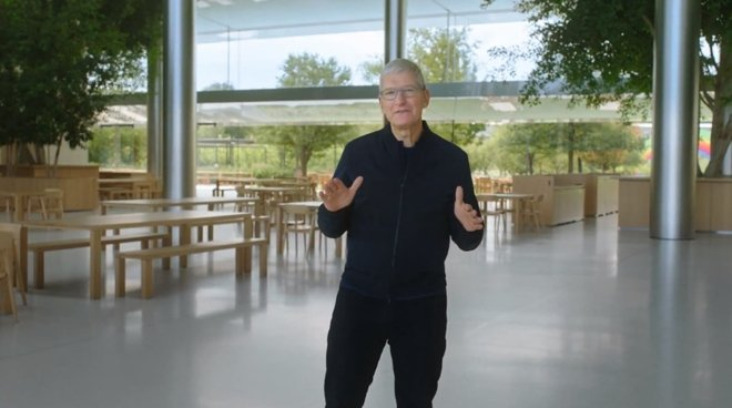 Apple CEO Tim Cook in a previous Apple event stream