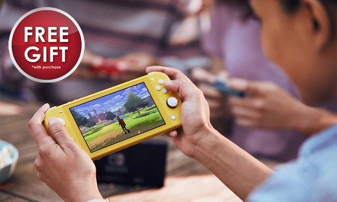 Nintendo Switch Lite in yellow with free gift badge