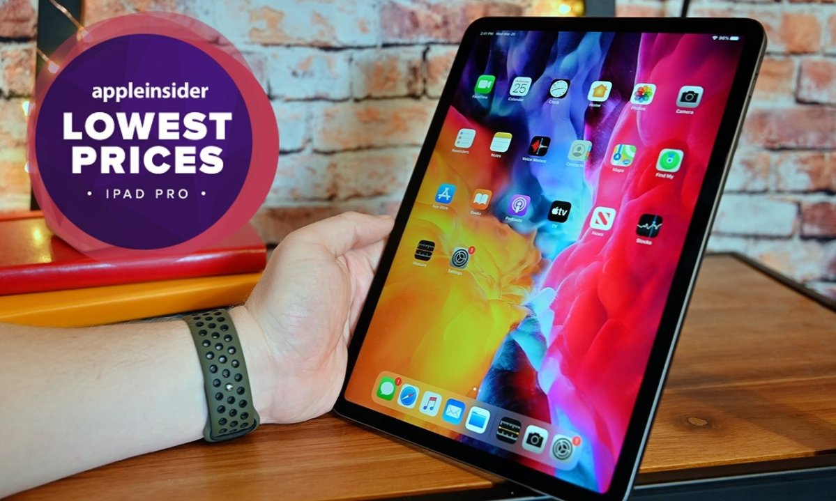 Apple iPad Pro held up on table with AppleInsider lowest prices badge