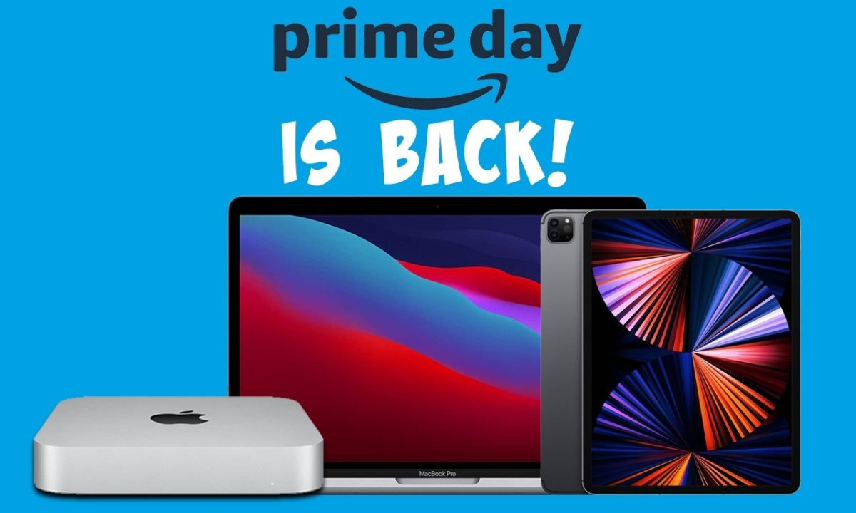 Apple Mac mini, MacBook Pro, iPad Pro with Prime Day is back text