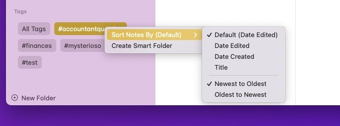 Find tags in a group at the bottom of Notes's Folders list, where you can also create smart collections of them