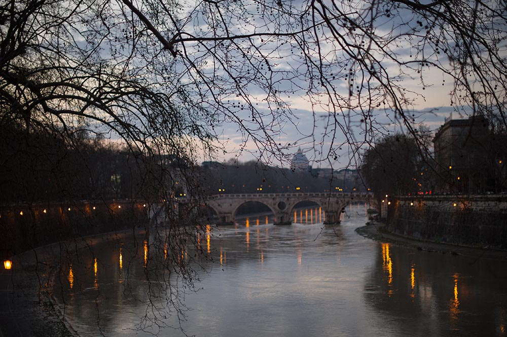 sunset, tober, roma, italy, river