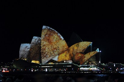 The Opera House was a focus point of the Vivid Festival as projected images on its famous sails transformed it into a screen that lizards crawled over