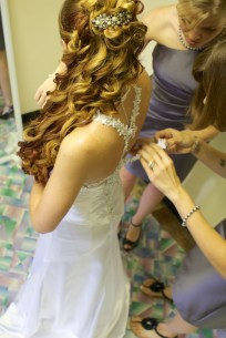 Bride gets the final touches