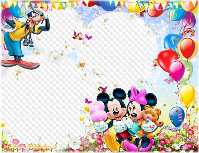 Birthday Photo Frame With Pluto Mickey And Minnie Mouse Psd Png Download Transparenter Rahmen Png Psd Multilayer Fotorahmen