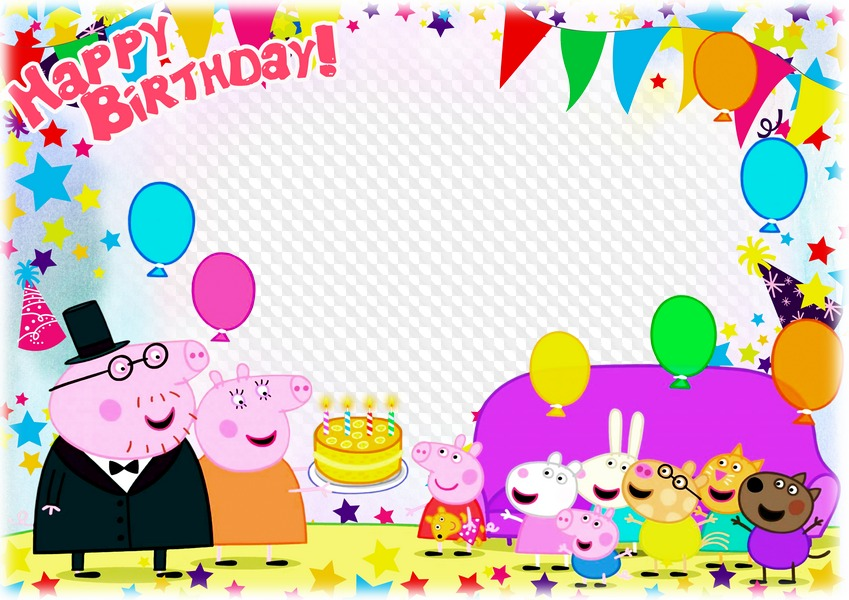Psd Png Horizontal Photo Frame With Peppa Pig Happy Birthday