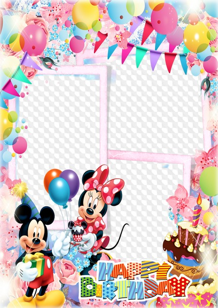 Mickey And Minnie Mouse Birthday Triple Photo Frame Png Psd Transparenter Rahmen Png Psd Multilayer Fotorahmen