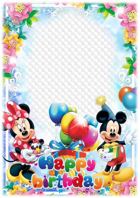 Happy Birthday Photo Frame With Mickey And Minnie Mouse Transparenter Rahmen Png Psd Multilayer Fotorahmen