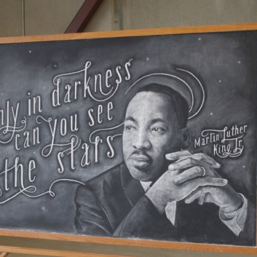"Two CCAD seniors sprent the last school year creating weekly murals on school chalkboards, leaving only ""#dangerdust"" behind as a signature."