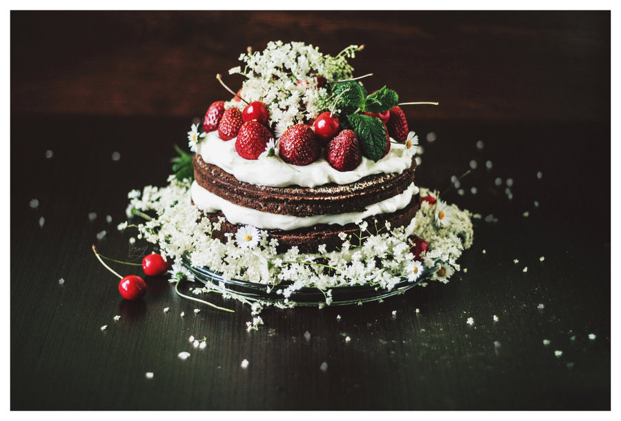 birthday chocolate cherry cake food photography