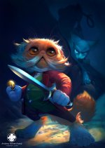 cat holding a knife hobbit fan art