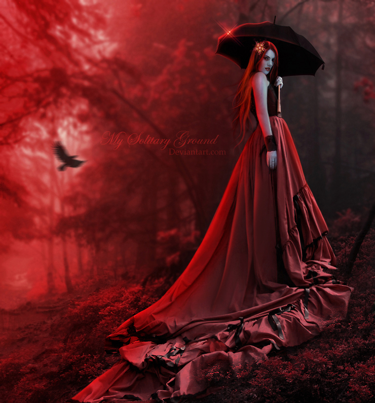 crow model in red dress