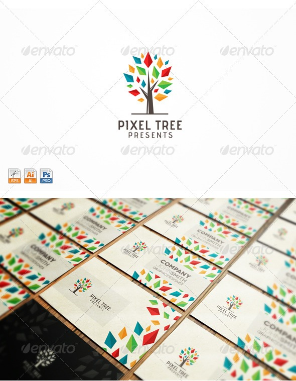 pixel tree logo media clean professional