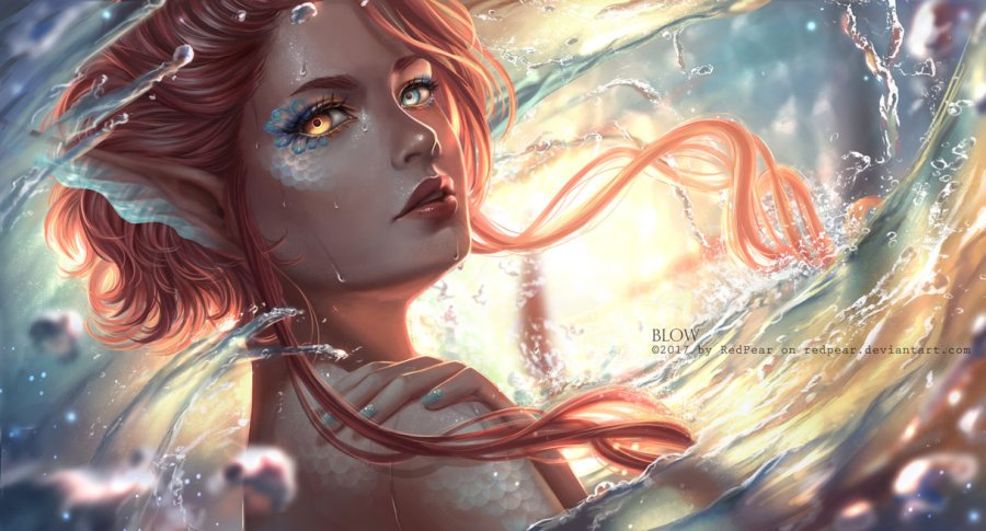 digital painting girl water
