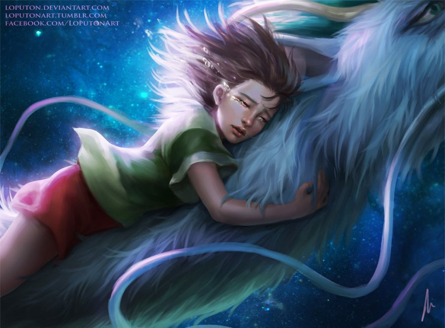 digital painting girl on a dragon