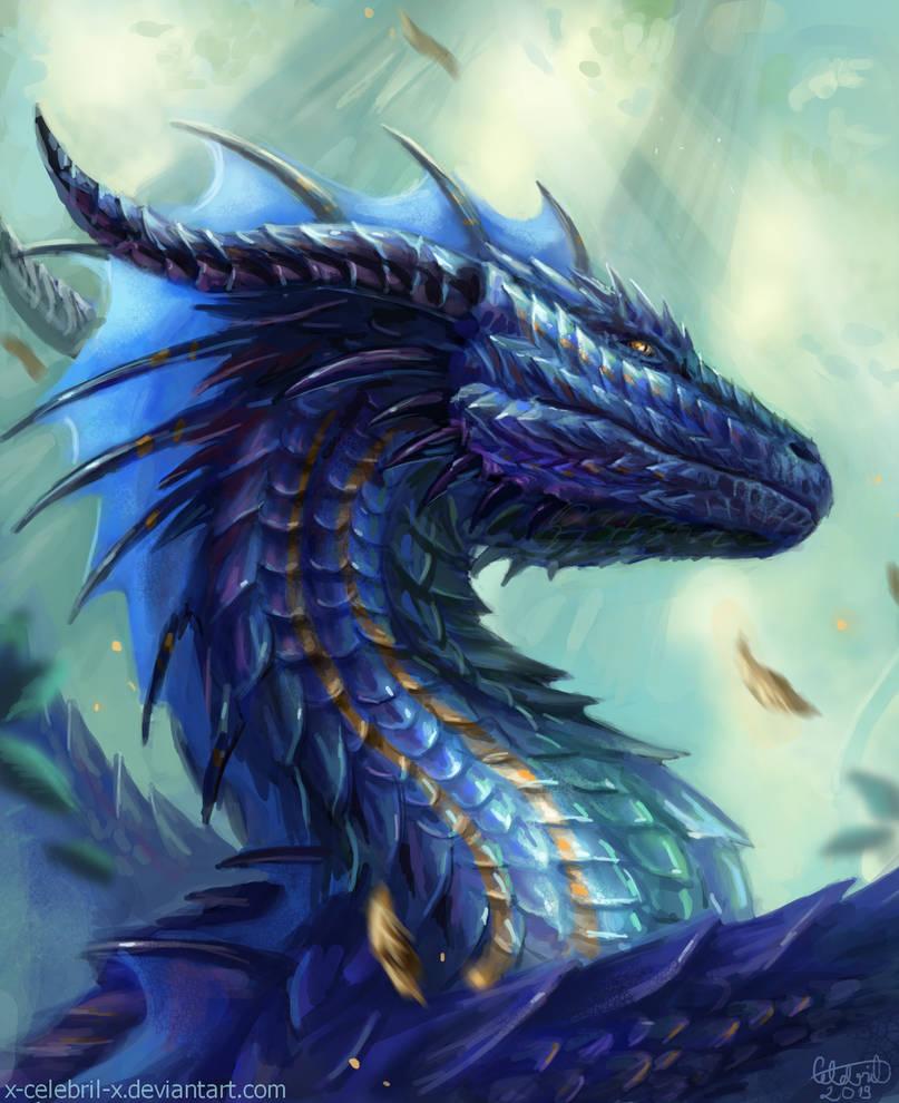 fantasy digital artist blue dragon
