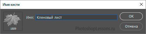 Задаем имя созданной кисти на примере Photoshop CC (2017) (Rus)