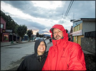 Puerto Natales with wife and new coat
