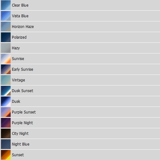 Screenshot of gradients in Photoshop