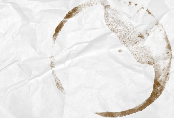 Coffee stain on wrinkled paper