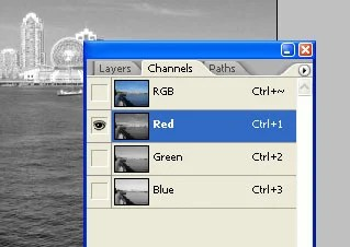 Red channel selected
