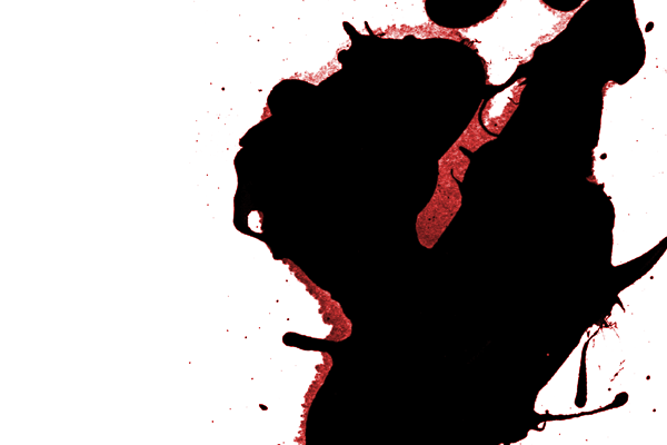 Ink splatter with bleeding edge