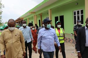 PHOTO: Umahi, others on inspection visit to Covid 19 Isolation centre