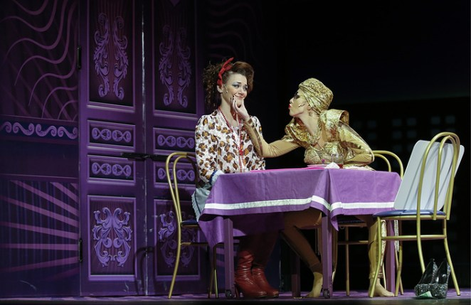 Ksenia Sobchak (right) perform in a scene from Nikolai Gogol's play The Marriage staged by Filipp Grigoryan at the Theatre of Nations in Moscow