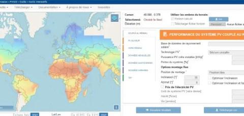 PVGIS Simulation production solaire photovoltaïque mondiale