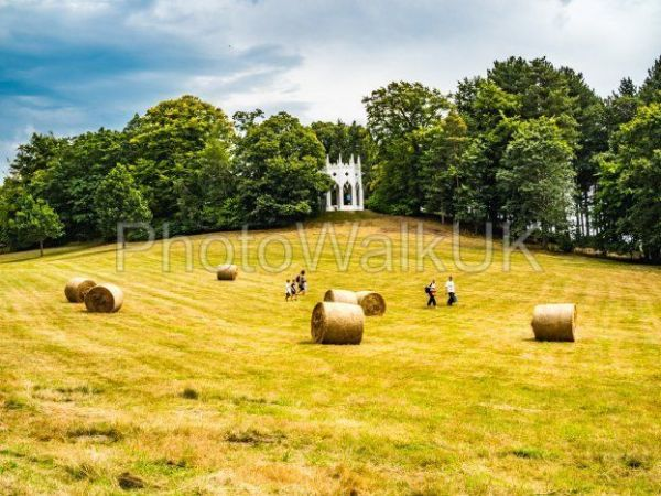 Painshill Park, Cobham Surrey, England.  4 August 2019. Family running through a field - Photo Walk UK