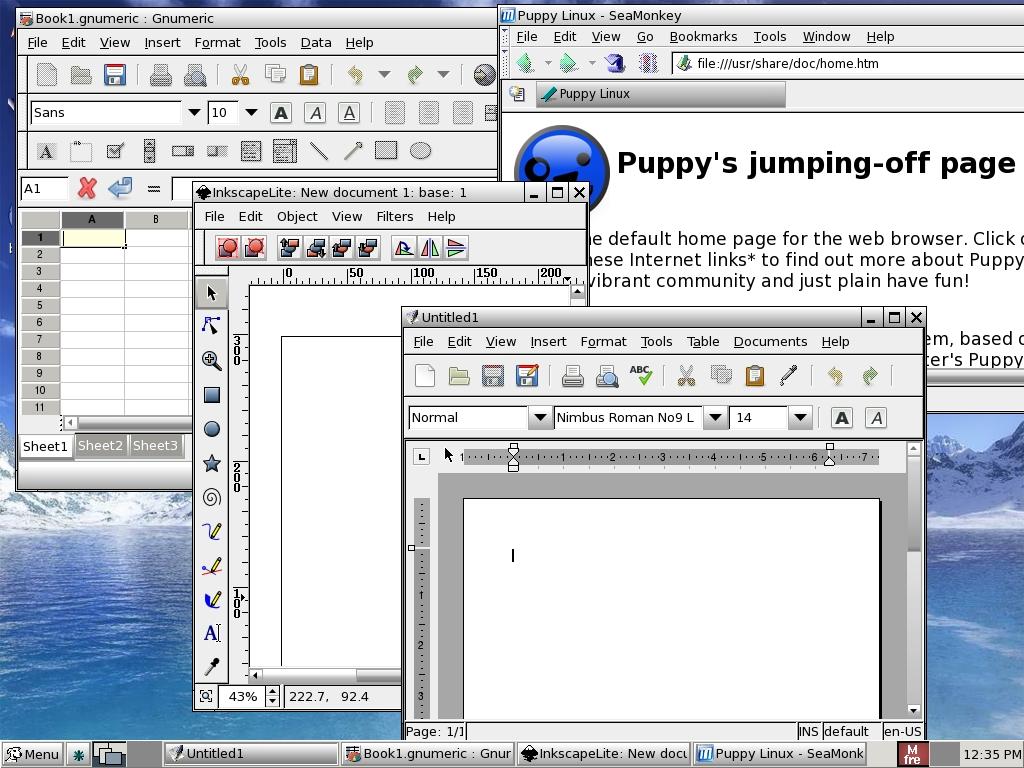Puppy Linux 4.1 (Dingo) Running Inkscape, Abi Word, GNumeric, Seamonkey