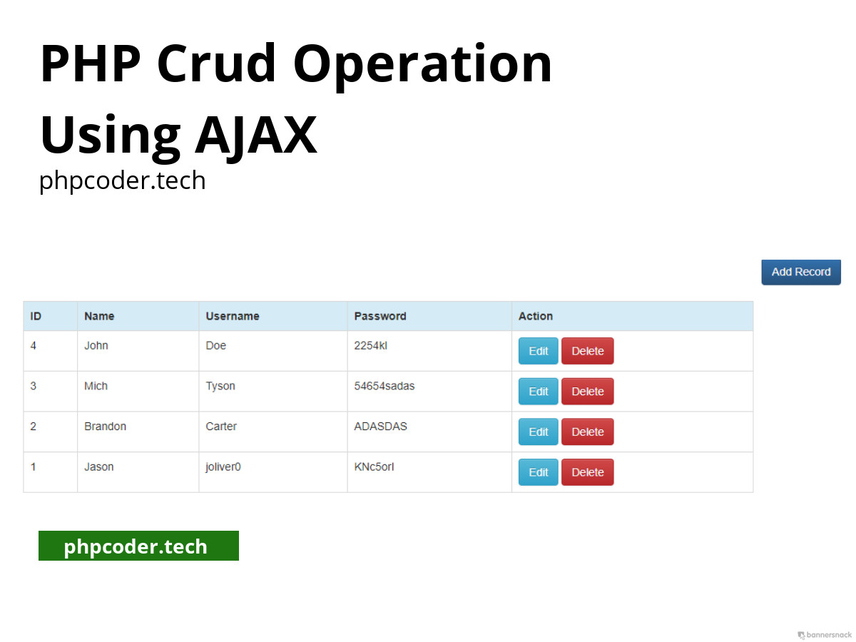 PHP crud operation using ajax