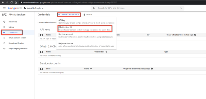 Go to OAuth Client ID