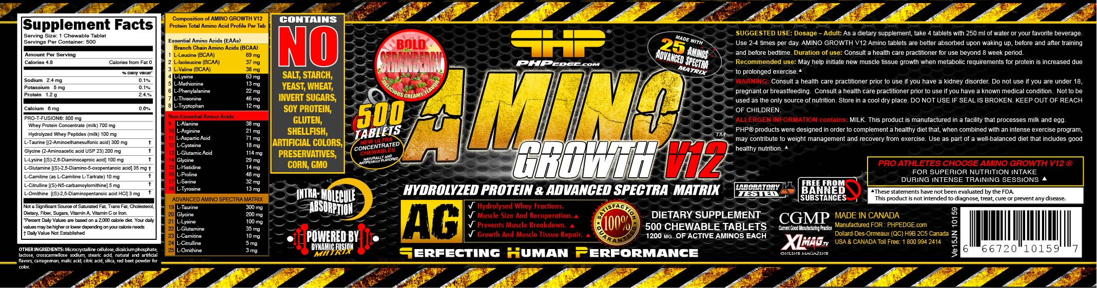 AMST0500-1200-10159 AMINO GROWTH V12 ® BOLD STRAWBERRY USA VE15JN