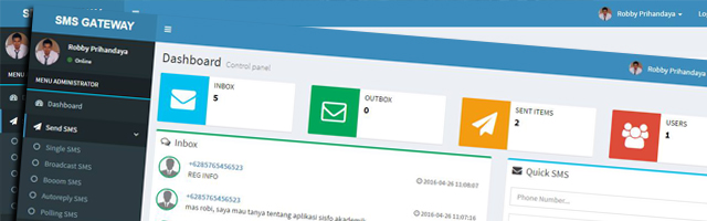 SMS Gateway Full Fitur V.2 With AdminLTE Responsive Template