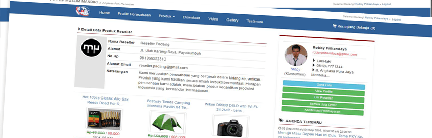 E-Commerce Reseller System Responsive dengan Codeigniter dan MySQL