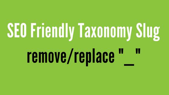 Make Taxonomy Slug SEO Friendly