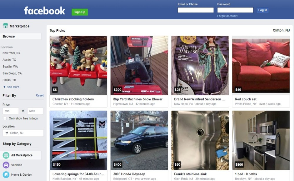Facebook marketplace to Sell Items