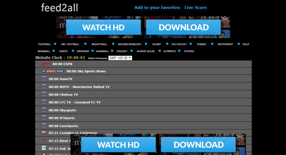 Feed2all Free Sports Streaming Sites