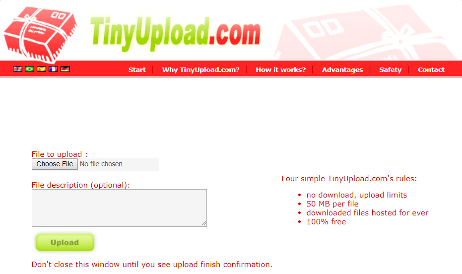 Tiny file Upload without Registration