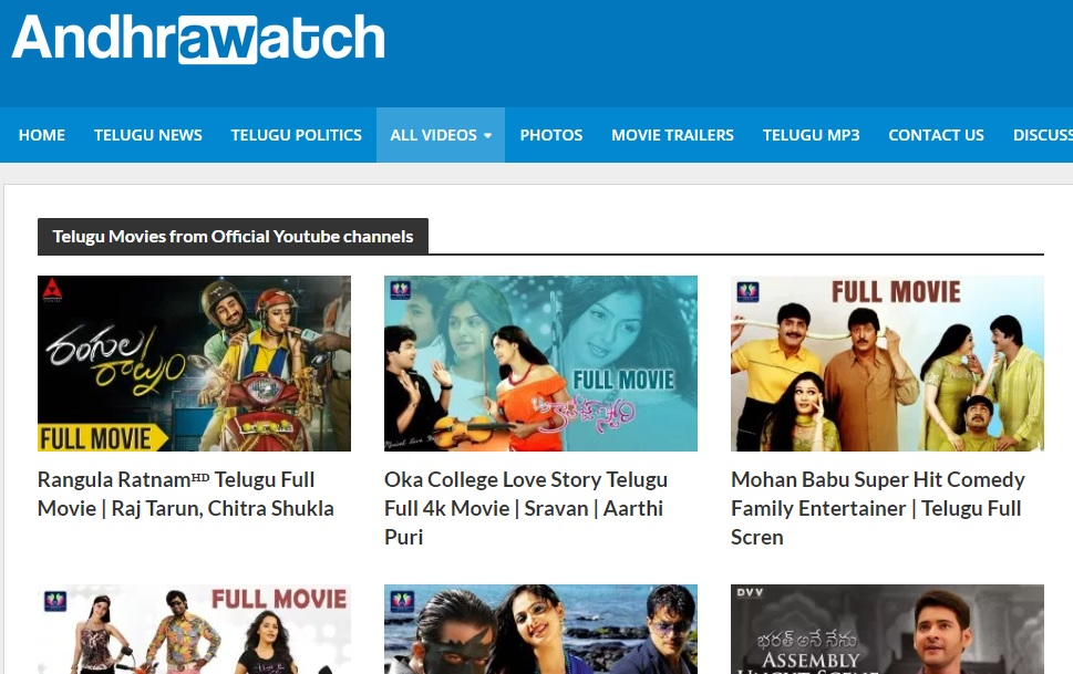 10 Best Sites to watch Telugu movies online for free and enjoy