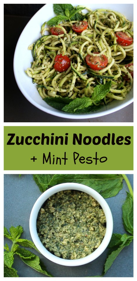 Zucchini Noodles with Mint Pesto (Vegan, Low-Glycemic)