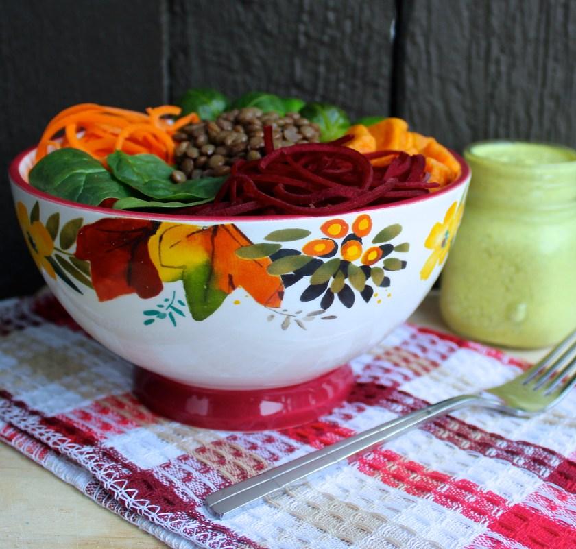 Autumn Vegetable Buddha Bowl Turmeric Ginger Hemp Dressing