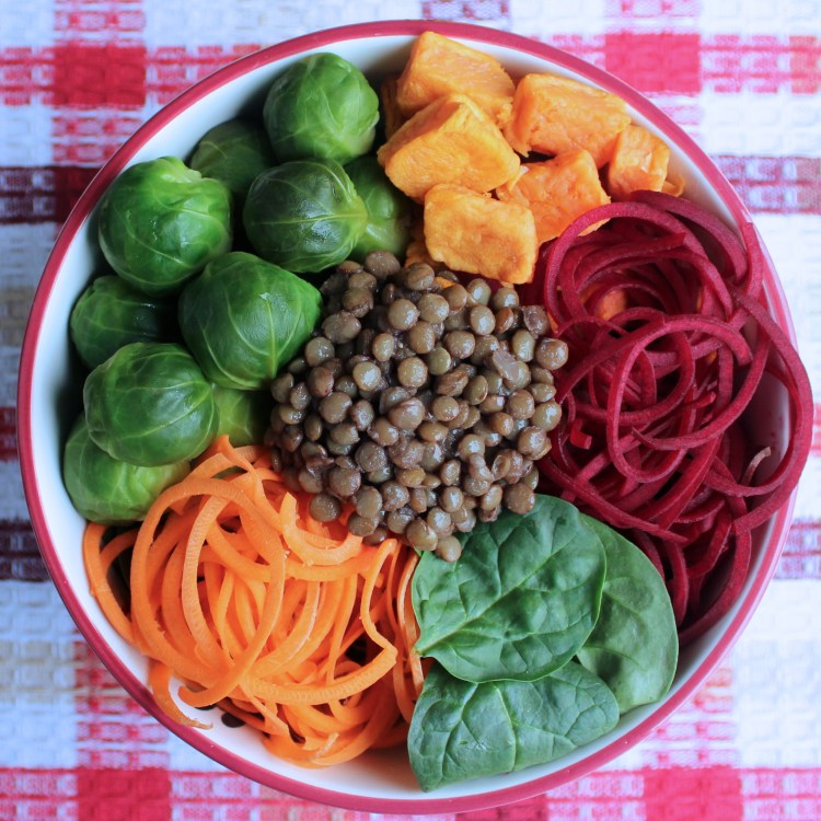 Autumn Buddha Vegetable Bowl Turmeric Ginger Hemp Dressing
