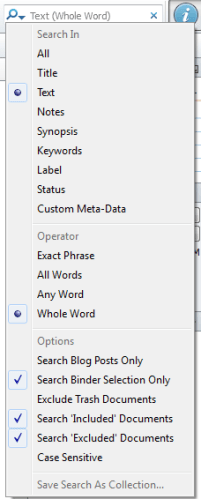 Scriv Search Options
