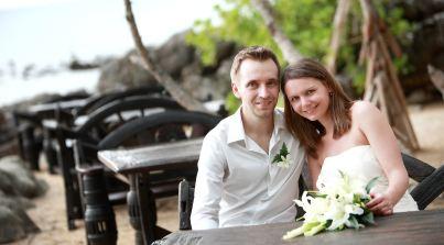 Destination wedding on the beach in Koh Lanta , Thailand.