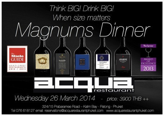 Phuket's Acqua to host island's first Magnum Dinner