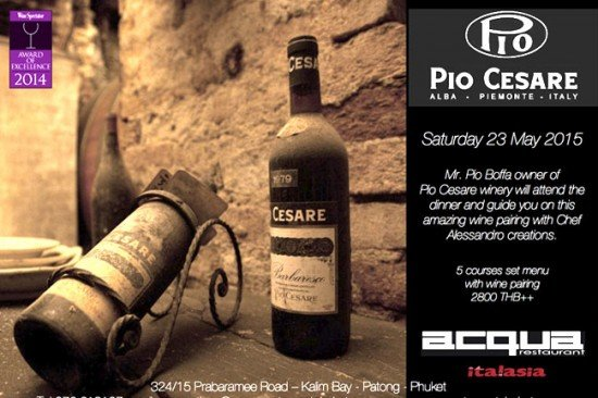 Pio Cesare Wine Dinner at Acqua Restaurant on Saturday 23 May 2015